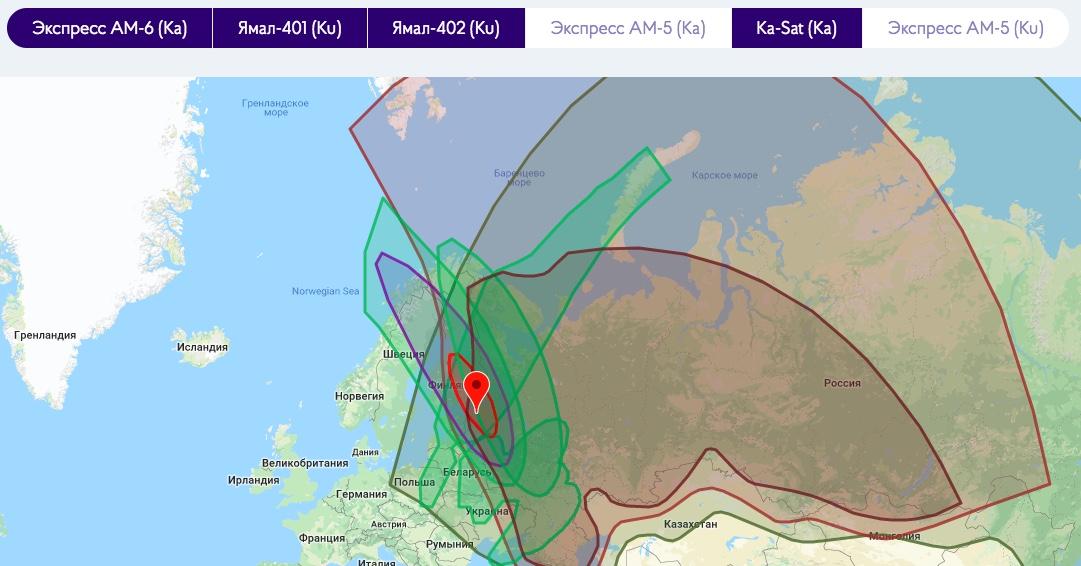 Карта покрытия Astra Internet